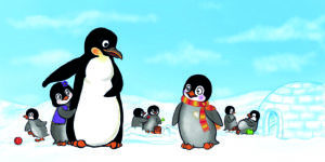 Bild2-Flim-Pinguin-im-Kindergarten-GruenerSinn-Verlag-veganverlag