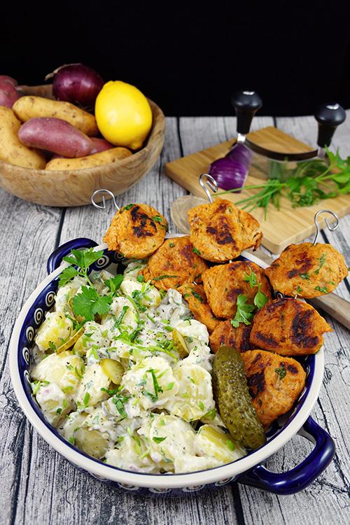 Kartoffelsalat mit orientalisch gegrillten Sojamedallions-Hochformat-Kochbuch-klein