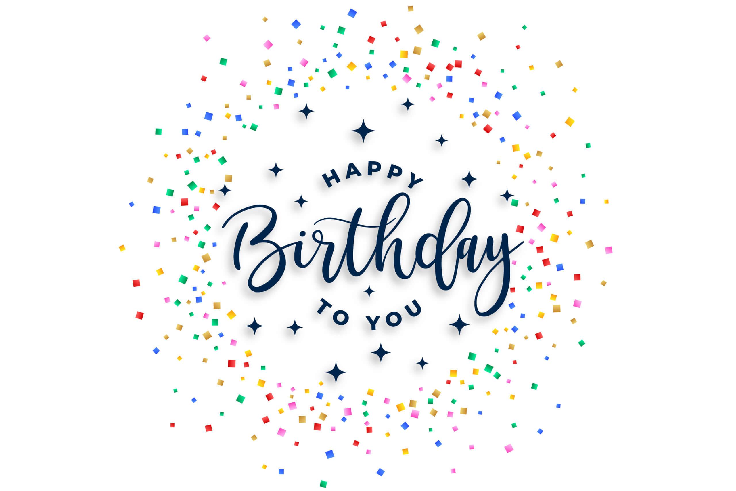 happy birthday to you celebration confetti background design