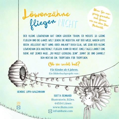 illutie-atelier-of-illustration--veganverlag-britta-reinhard-Löwenzähne-fliegen-nicht-Rückseite